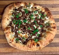 Kasundi, Lamb and Goat Cheese Pizza